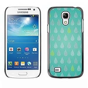 TopCaseStore / la caja del caucho duro de la cubierta de protección de la piel - Tears Green Rain Raindrops Pattern Polka Dot - Samsung Galaxy S4 Mini i9190 MINI VERSION!