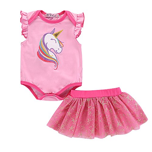 Baby Girl Clothes Baby Girl Dress Set Pink Unicorn Ruffle Sleeveless Romper Jumpsuit + Pink Tulle Tutu Mini Skirt with Golden Star Pattern Cute Princess Party Dresses for Toddler 12-18 Months (Mini Big Skirt Star)
