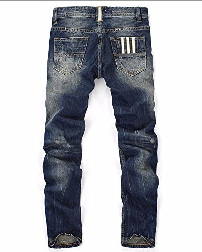 Pantaloni Ripped Denim Jeans Distressed Skinny Destroyed Strappati Marino Blu Casuale Uomo Swd48qS