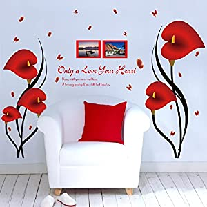 Amaonm Fashion 3D Vinyl Red Flower Wall Stickers Decor Nursery Morning Glory Flowers Wall Art Decals Removable DIY Home Decal Red Lip & Photo Frame Lettering Art for Girls Room Living Room Bedroom