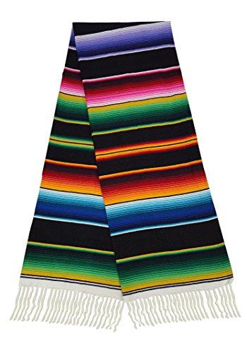 El Paso Designs Mexican Serape Blankets Bright & Colorful Saltillo Serape Blanket (X-Large, Black)