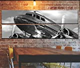 vintage aviation decor - Large Vintage Airplane Wall Art Decor / Vintage Aircraft Picture On Canvas Panels / Aviation Wall Art Painting DC-3 Dakota Poster Print 22x67 inches