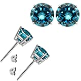 1.00 Carat Blue Diamond Flower Solitaire Stud Women Pair Earrings With Halo Jackets 14K White Gold