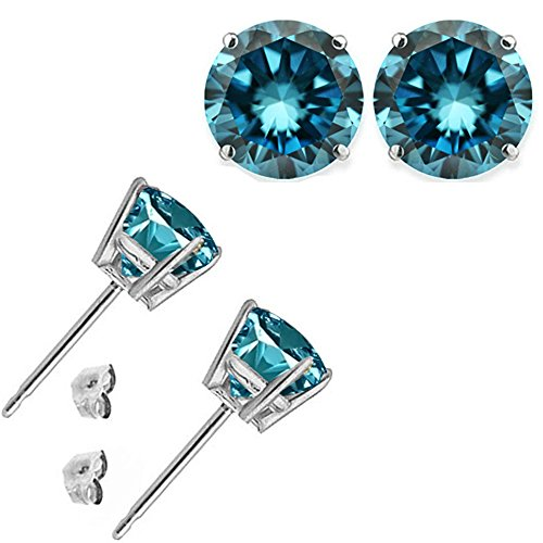 - 1.00 Carat Blue Diamond Flower Solitaire Stud Women Pair Earrings With Halo Jackets 14K White Gold