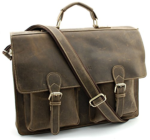 Bovari Messenger Bag Laptop-Tasche Schultertasche Umhängetasche Aktentasche 40x30x10 cm Model V3- echt Leder / Büffel-Leder- braun - Vintage Edition