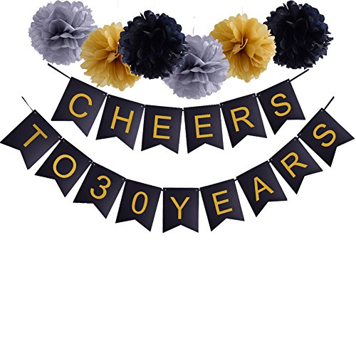 30th Happy Birthday Cheers to 30 Years Banner For Wedding Anniversary Party Decorations