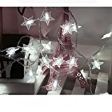 Amaping 2 Meters 10 LED Crystal Clear Star Fairy String Light Wedding Party Outdoor Decor Lamp Home Garden Decoration Lighting for Outdoor, Patio, Lawn, Garden, and Holiday Festivals (White)