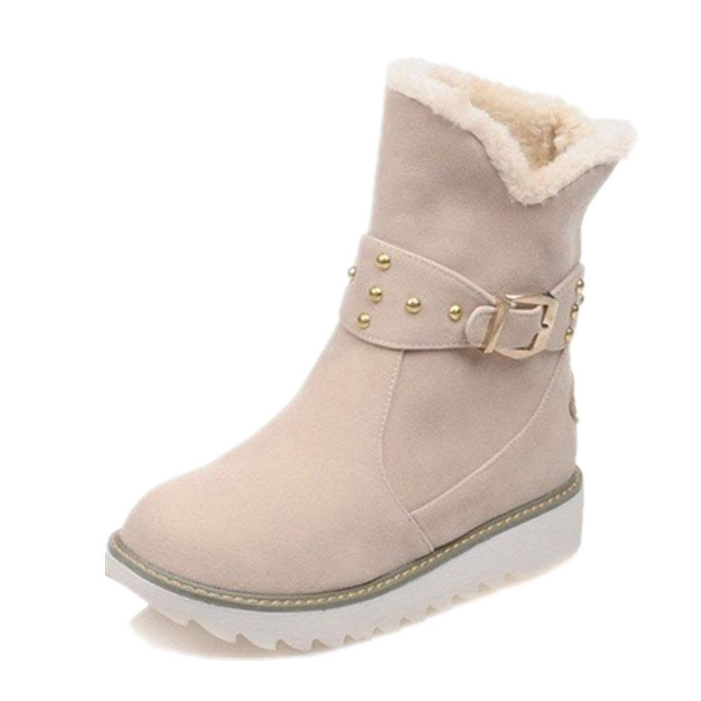 Qingbaotong - Botas de Nieve para Mujer, con Cuello de algodón, 3 ...