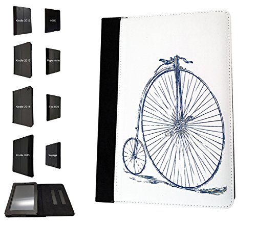 001758 - Penny Farthing Vintage Bicycle Design Amazon Kindle Fire HD 8 (2017) Flip Case Purse pouch Stand Cover