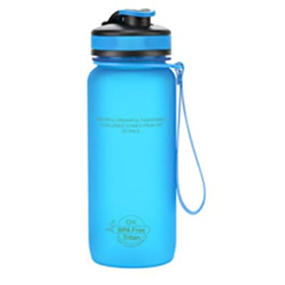 Sports Bouteille d'eau, 650ml Fitness Bouteille d'eau Capacité Eau potable Portable Plastique Shaker Vélo Bouteille Tritan sans BPA, Bleu