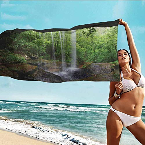 TT.HOME Travel Bath Towel,Natural Cave Still Waterfall in The Forest in Northern Alabama Habitat Ecosystem Scenery,Bath Towel for Bathroom,W40x10L, Green Brown ()