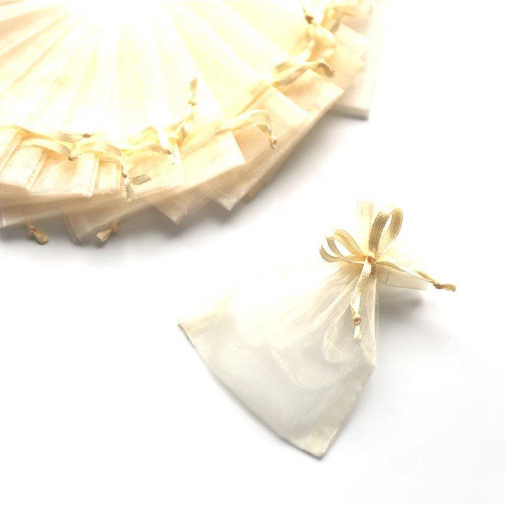 C.X.Y. 100 Sacchetti Organza 7*9cm Confetti Bomboniera Regalo (ROSA)
