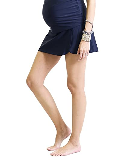 5aa896e7c8 Oceanlily Over The Belly Maternity Swim Skort Navy at Amazon Women's ...