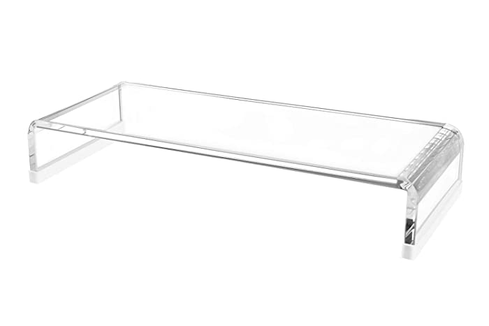 Richboom Clear Acrylic Monitor Stand with Silicone Anti-Slip Case, Monitor Riser Computer Stand and TV Stand for Office, Home, School