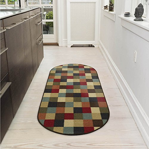 Ottomanson Ottohome Collection Contemporary Checkered Design Non-Skid Rubber Backing Modern Area Rug, 2' X 5' Oval, Multicolor 2' Oval Area Rug