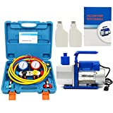 Yaetek R410A R134A R22 4.8 CFM 1/3HP Air Vacuum Pump HVAC A/C Refrigerant Rotary Vane Vacuum Pump Single Stage W/ 4 Hoses 4 VALVE MANIFOLD GAUGE Set (100% Complete Set)