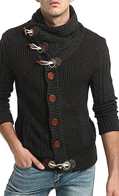 HX fashion męski sweter sweter ciepły wygodny zwijany kołnierz sweter dziany wygodny rozmiar długi rękaw sweter na kÓłkach sweter na kÓłkach ubranie: Odzież