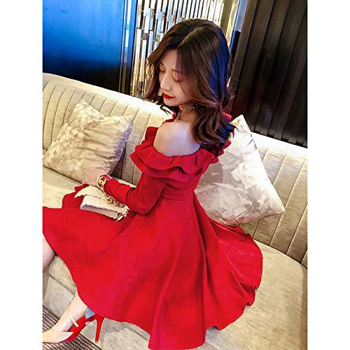 Femme Taille Manches 2019 L Épaule Jupe Robe Une Nouvelle À Printemps Bingqz Longues Haute nqwU68p4