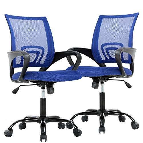 BestOffice Ergonomic Office Desk Mesh Computer Back Support Modern Executive Adjustable Task Rolling Swivel Chair for Women,Men(2 Pack), Blue