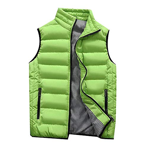 Essential Jean Jacket - Binmer Men's Vest Jacket Autumn Winter Coat Padded Cotton Vest Warm Hooded Thick Vest Tops Jacket (M, Green)