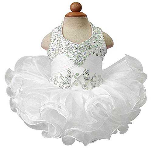 Baby Girls Halter Cupcake National Infant Pageant Dresses White US ()