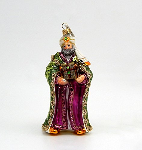 A Bit of Britain Wiseman with Gift - Green Cloak - Polish Glass Christmas ()