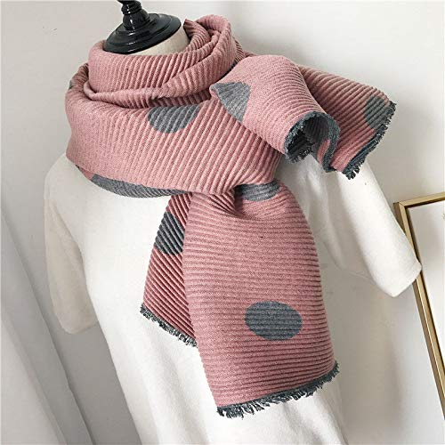 Pink Women's Warm Winter Cotton Linen Wrinkle Scarf Wraps Shawl 200Cm65Cm