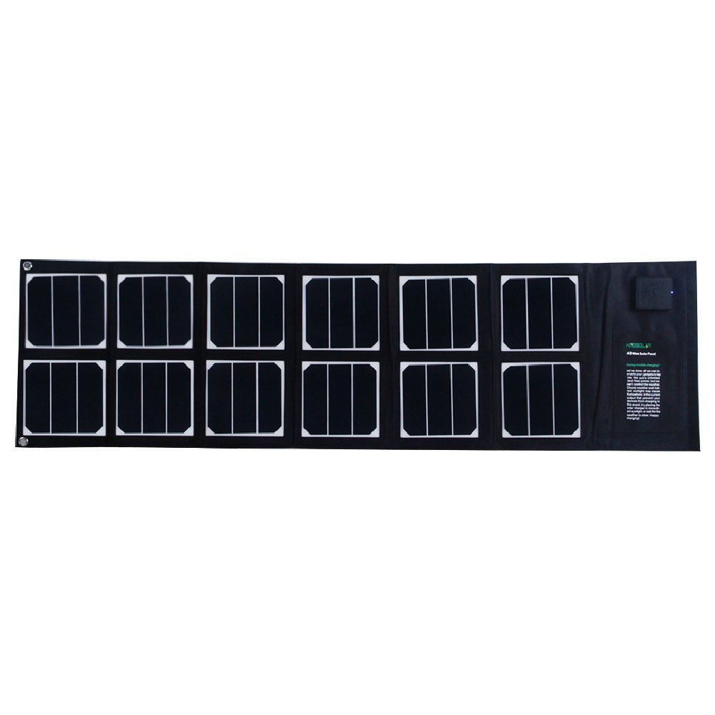Solar Charger 40W Portable Solar Panel Foldable High Efficiency 5V USB 18V DC Dual Output Charger for Laptop Tablet GPS Cell Phone
