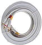 25' ft Premium Composite AV Video TV DVD VCR 25 Foot Cable (White) - NEW