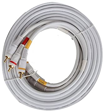 25 Ft Premium Composite AV Video TV DVD VCR Cable de 25 pies (blanco