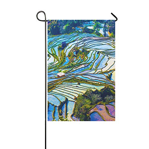 MOVTBA Home Decorative Outdoor Double Sided Yunnan City Free Travel Romantic Color Garden Flag,House Yard Flag,Garden Yard Decorations,Seasonal Welcome Outdoor Flag 12 X 18 Inch Spring Summer Gift ()