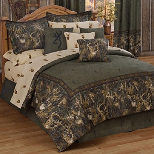 Browning Whitetails - 10 Piece King Comforter Set (1 Comforter, 1 Flat Sheet, 1 Fitted Sheet, 2 Pillow Cases, 2 Shams, 1 Bedskirt, 2 Square Accent Pillows) SAVE BIG ON (Deer Bed Set)