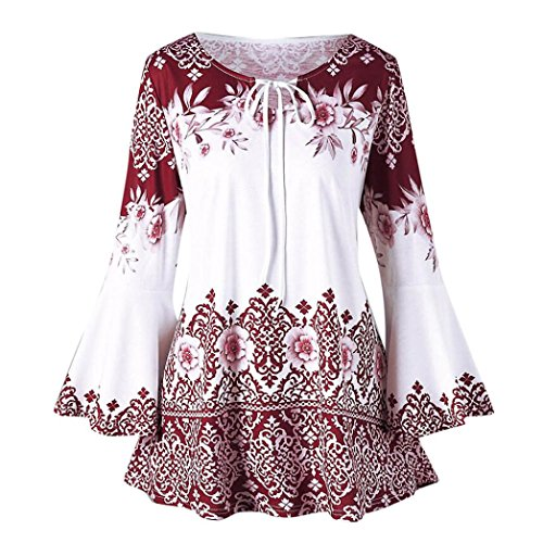 - Todaies Womens Plus Size Printed Flare Sleeve Tops Blouses Keyhole T-Shirts