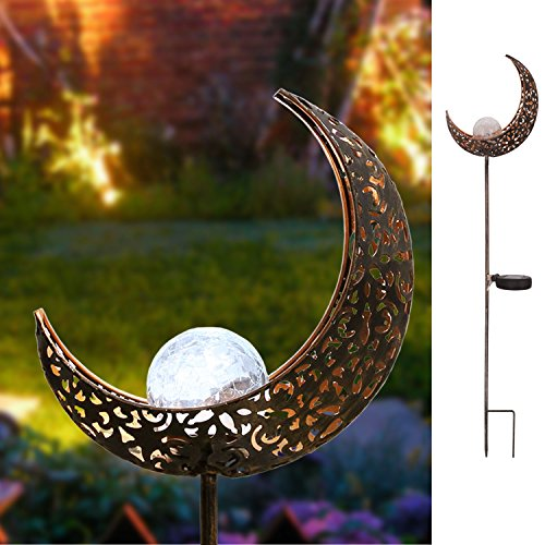 Garden Solar Lights Outdoor,Homeimpro Moon Crackle Glass Globe Stake Lights,Waterproof LED Lights for Garden,Lawn,Patio or Courtyard (Solar Globe Stakes)