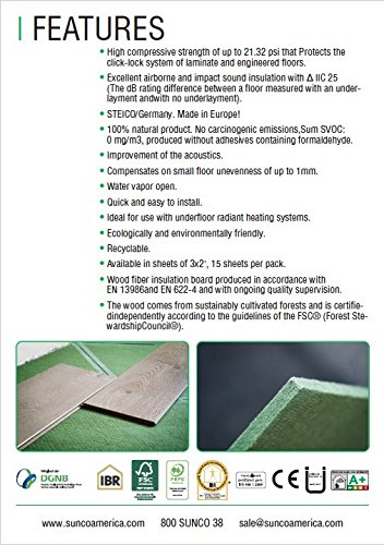 STEICO 4 in 1 soft Underlayment for laminate, engineered wood floor, vinyl, LVT/LVP 6mm 1/4 Inch 90 SqFt with soundproofing natural green wood fibre and excellent airborne and impact sound insulation by STEICO (Image #5)