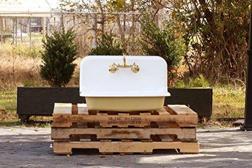 "30"" Antique Inspired High Back Farm Sink Cast Iron Original Porcelain Wall Mount Kitchen Sink Package Churlish Green"