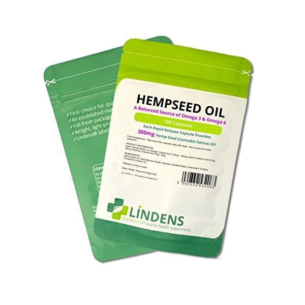 Lindens Hemp Seed Oil 300mg Capsules (100 Pack)