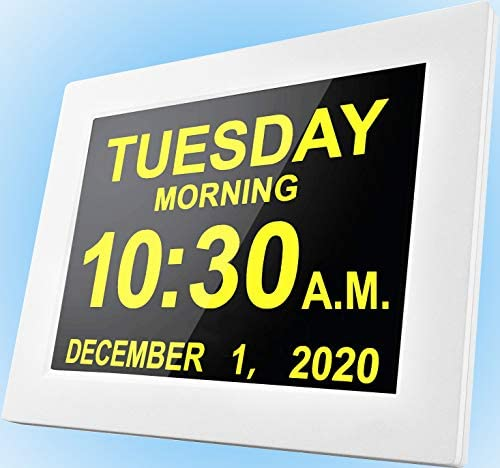 """[2020 Upgraded] Digital Day Clocks,16 Reminders,Custom Alarms, Electronic Calendar for Memory Loss Elderly Dementia Sufferers Alzheimers Wall Vision Impaired Patients Kids Room (8"""" White)"""