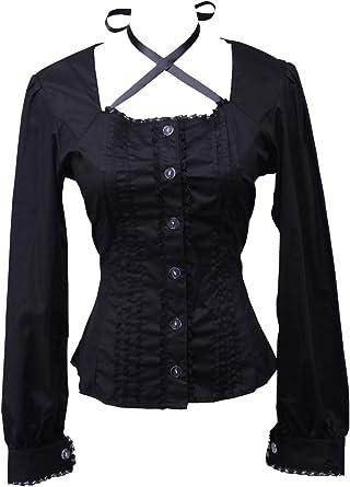 an*tai*na* Negra Algodón Encaje Gotica Sexy Low Collar Lolita Casual Camisa Blusa de Mujer: Amazon.es: Ropa y accesorios