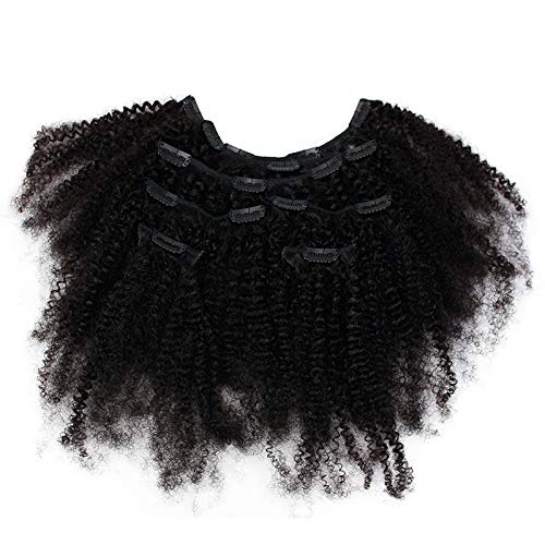 Funtress 4B 4C Afro Kinky Curly Clip Ins Human Hair Extensions Clip-in Full Head 7 Pcs 80G 16 Clips Mongolian Virgin Hair For Black Women African American Clip Ins Natural Color Remy Hair (16 Inch)