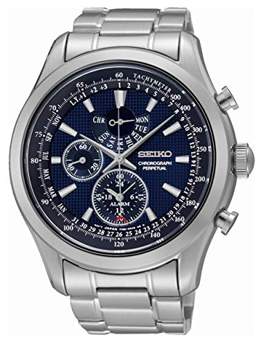 (Seiko SPC125P1 Neo Classic Alarm Perpetual Blue Dial Stainless Steel Mens Watch)