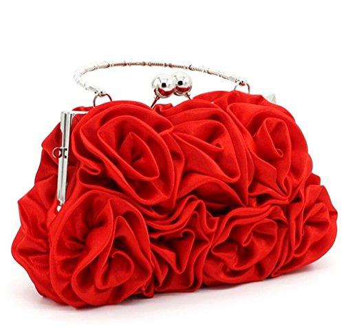 Nuptiale Demoiselle Élégant Sac à Fleur D'honneur Femme Soir Sac main rouge D'embrayage pwwqt6