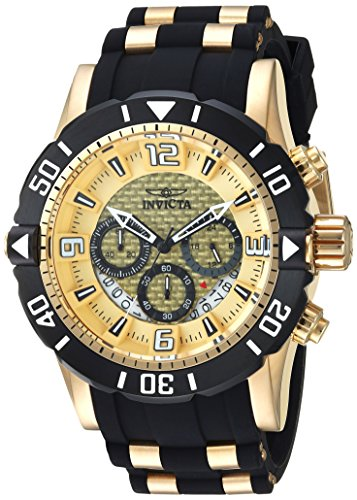 Invicta Men's 'Pro Diver' Quartz Stainless Steel and Polyurethane Diving Watch, Color:Two Tone (Model: 23700) by Invicta
