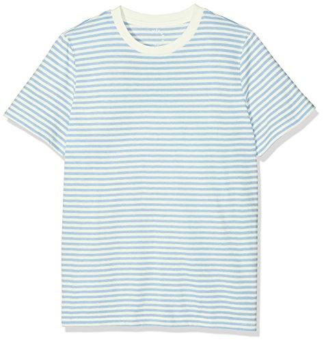 SELECTED FEMME Sfmy Perfect Ss Tee-Box Cut-Stri. Noos, Camiseta para Mujer Multicolor (snow White Stripes:xenon Blue)