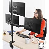 Stand Steady Monitor Arm | Height Adjustable with Full Articulation | VESA Mount Fits Most LCD / LED Monitors 13 - 32 Inches (3 Monitors) (Three Monitor Clamp)