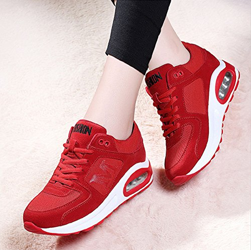 Casuales tamaño Lace Split Fall Rojo de Wedge up Tulle Color Sneakers Mujer Spring Zapatos Joint Heel para Zapatos 39 Comfort Athletic Ladies qTwSPzR