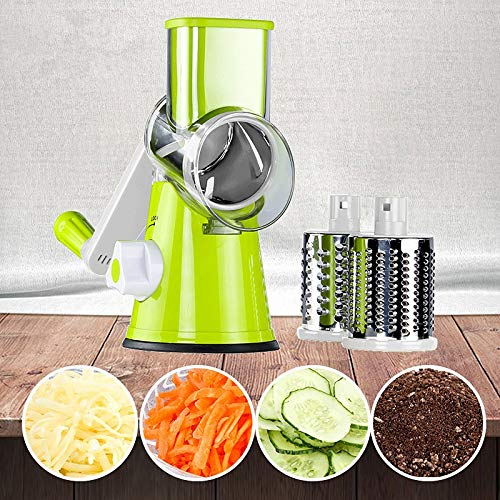 Szblk Manual Vegetable Cutting Table Drum Round Mandala Slicer Onion Potato Carrot Grinder with 3 Chopped Blade Kitchen Gadget (Color : Green) by Szblk