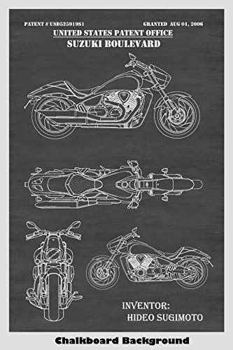 Suzuki Boulevard 2006 Motorcycle Design Patent Print Art Poster: Choose From Multiple Size and Background Color Options ()
