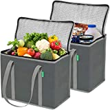insulated bags - Insulated Grocery Shopping Bags (2 Pack-Gray), X-Large, Premium Quality Cooler Bag Set with Long Handles and Zipper Top. Reusable Tote for Warm or Cold Food, Freezer Items, Delivery