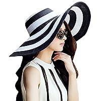 Geetobby Beach Hats for Women Floppy Sun Stripes Woven Elegant Hats UPF 50+ Multicolor Pattern Sun Hat
